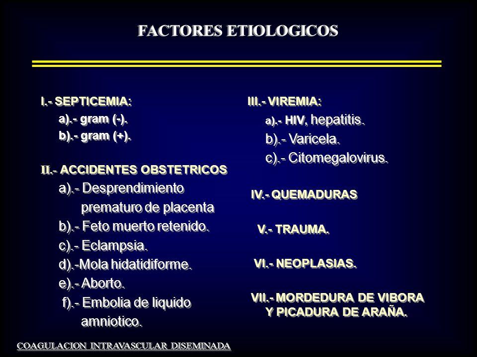 FACTORES ETIOLOGICOS b).- Varicela. c).- Citomegalovirus.