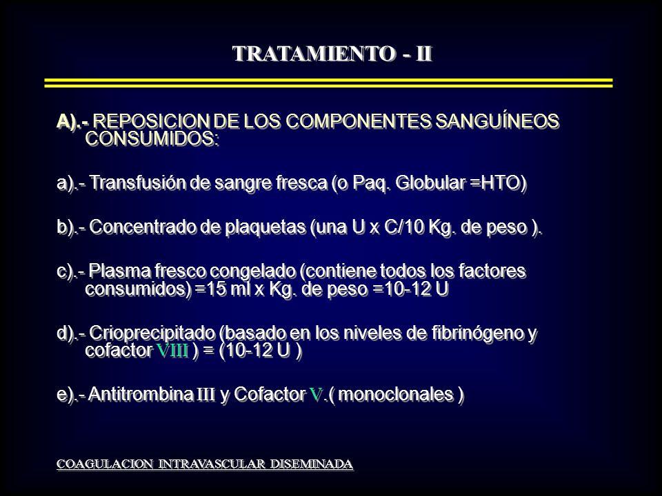 TRATAMIENTO - II A).- REPOSICION DE LOS COMPONENTES SANGUÍNEOS CONSUMIDOS: a).- Transfusión de sangre fresca (o Paq. Globular =HTO)