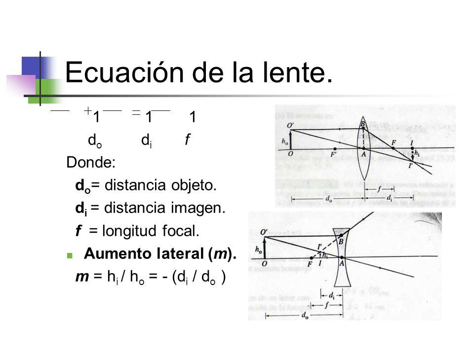 Ecuación de la lente. 1 1 1 do di f Donde: do= distancia objeto.