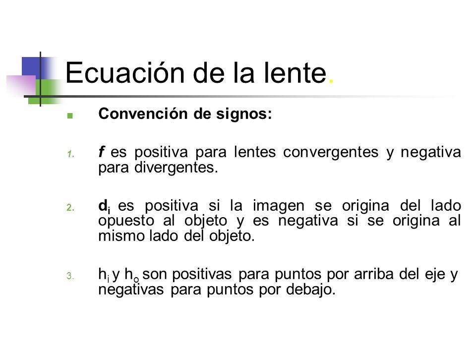 Ecuación de la lente. Convención de signos: