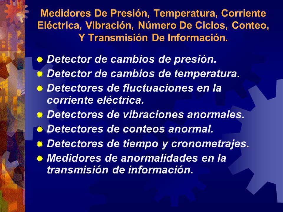 Detector de cambios de presión. Detector de cambios de temperatura.