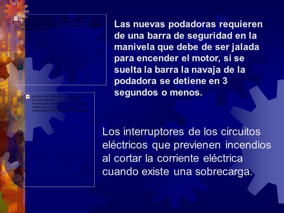 Las nuevas podadoras requieren de una barra de seguridad en la manivela que debe de ser jalada para encender el motor, si se suelta la barra la navaja de la podadora se detiene en 3 segundos o menos.