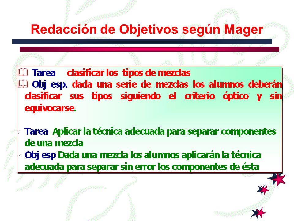 Redacción de Objetivos según Mager