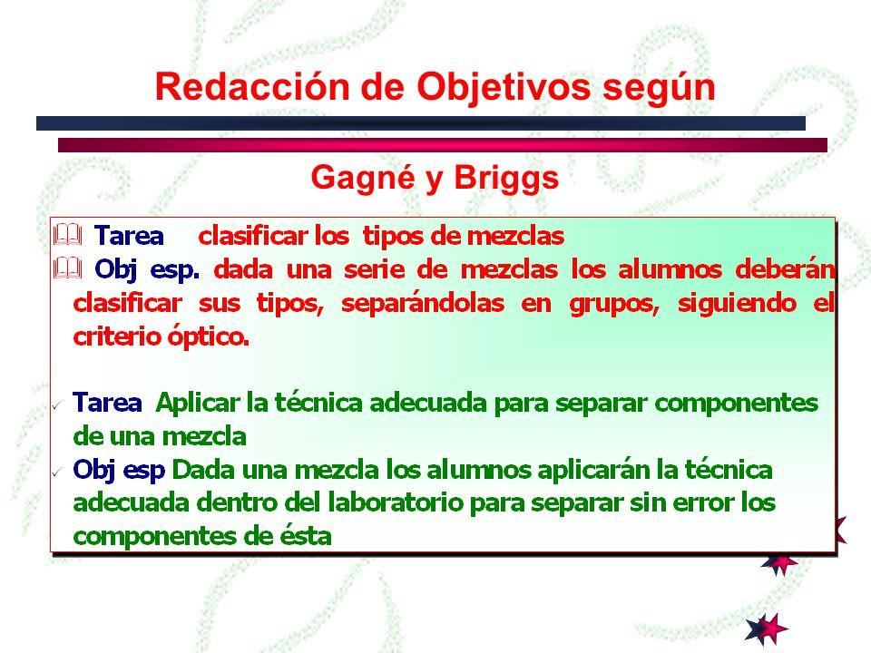 Redacción de Objetivos según Gagné y Briggs