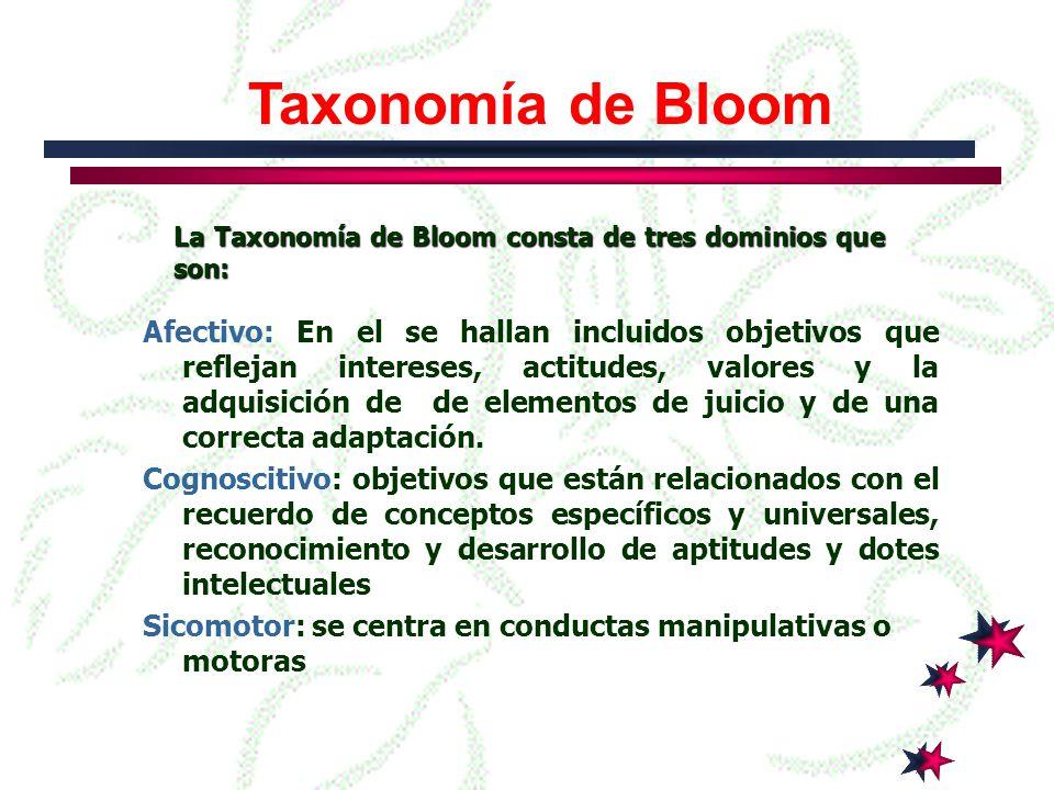 Taxonomía de Bloom La Taxonomía de Bloom consta de tres dominios que son: