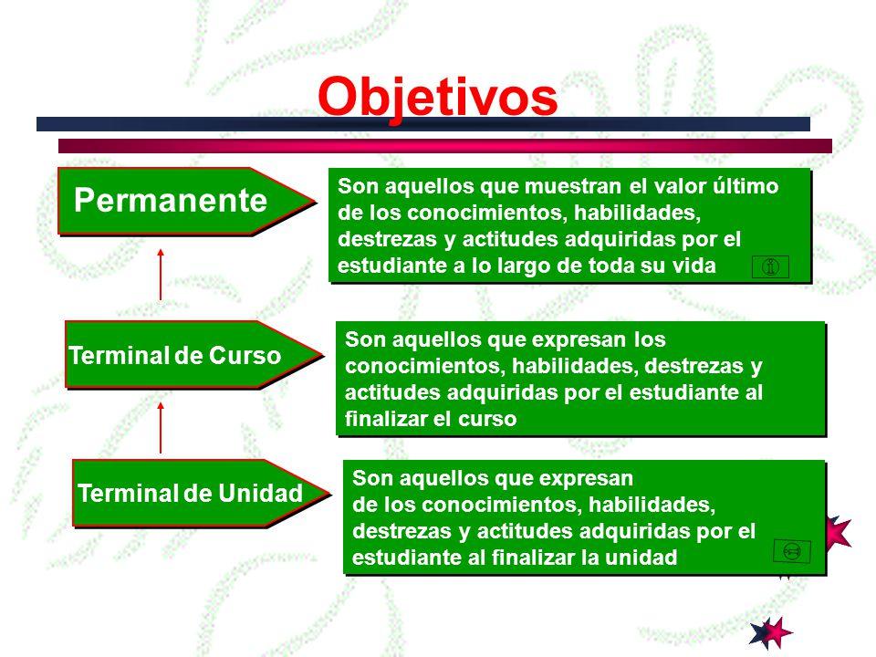 Objetivos Permanente Terminal de Curso Terminal de Unidad