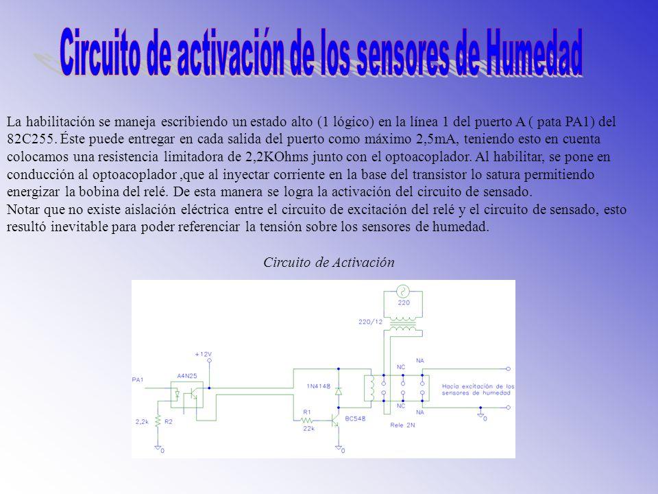 Circuito de activación de los sensores de Humedad