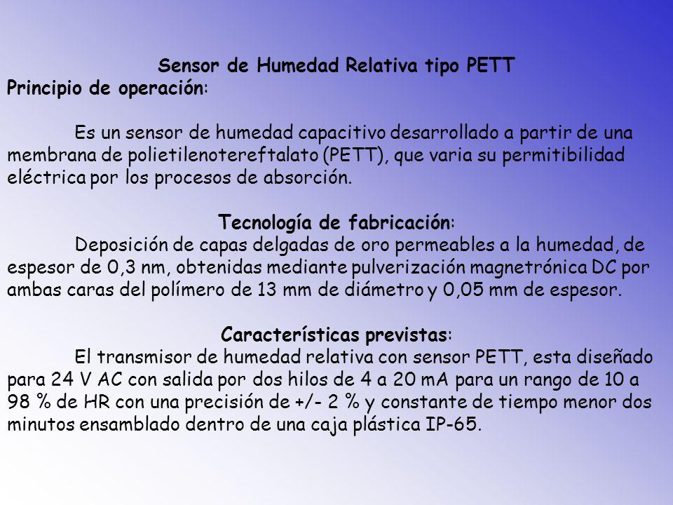 Sensor de Humedad Relativa tipo PETT Principio de operación: