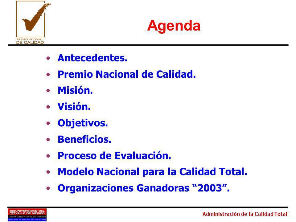Agenda Antecedentes. Premio Nacional de Calidad. Misión. Visión.