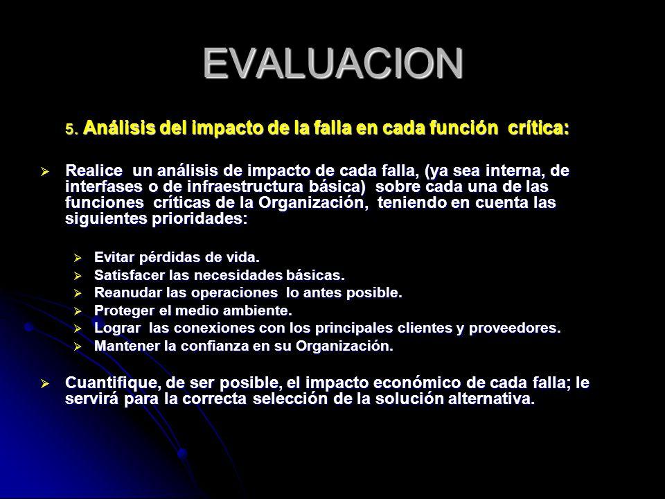 EVALUACION 5. Análisis del impacto de la falla en cada función crítica: