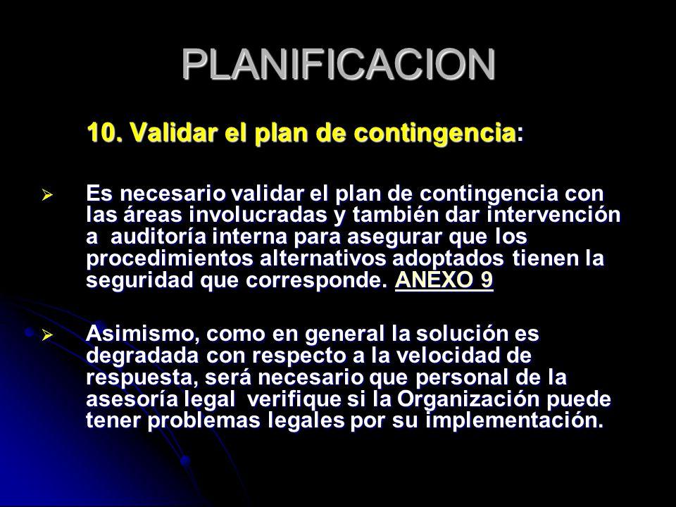 PLANIFICACION 10. Validar el plan de contingencia: