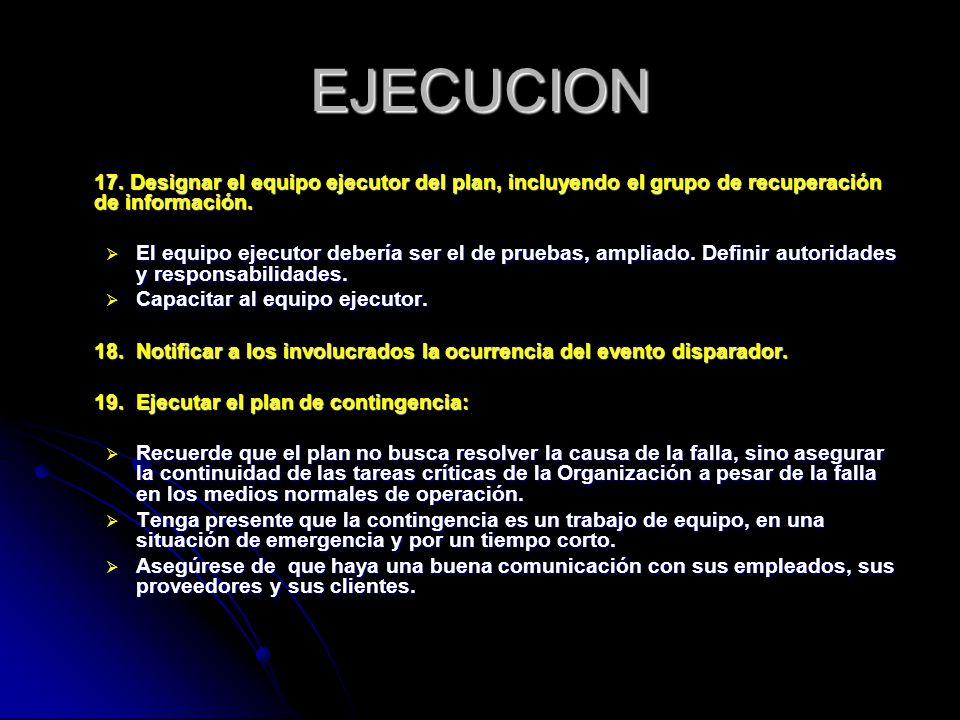 EJECUCION 17. Designar el equipo ejecutor del plan, incluyendo el grupo de recuperación de información.