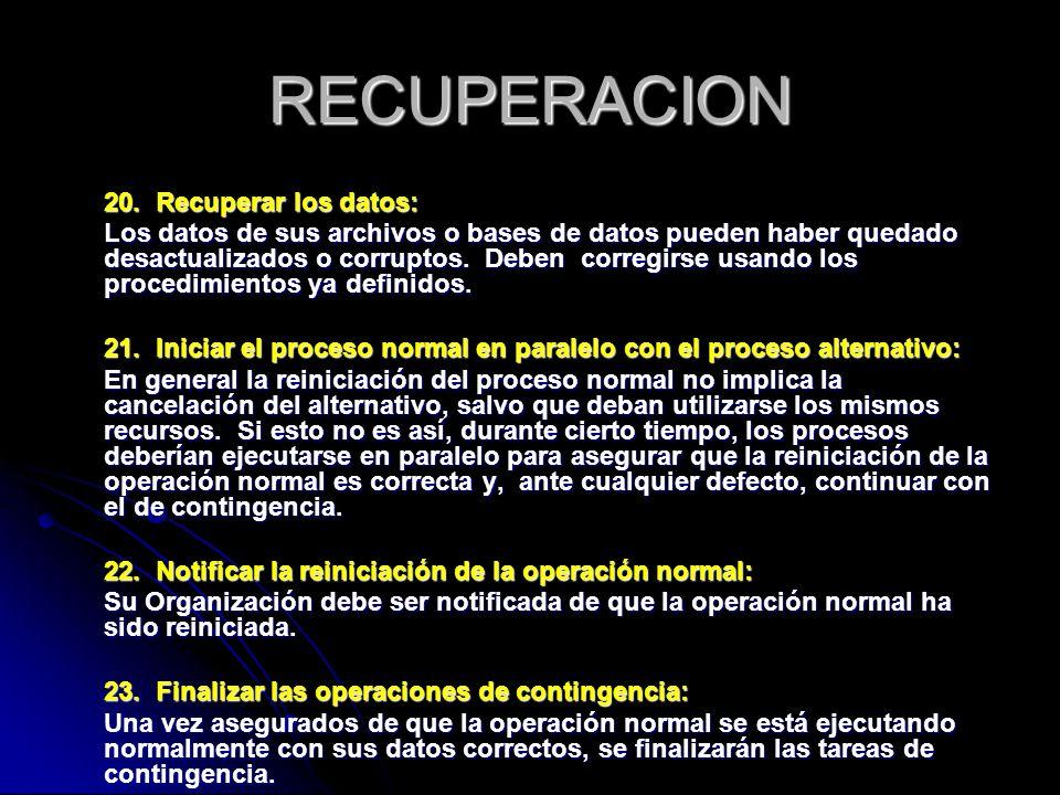 RECUPERACION 20. Recuperar los datos: