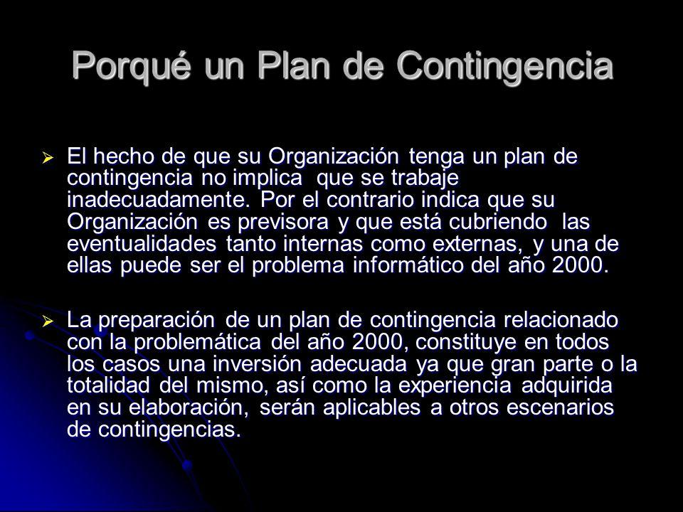 Porqué un Plan de Contingencia
