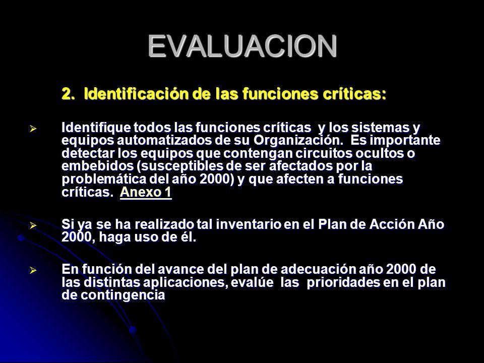 EVALUACION 2. Identificación de las funciones críticas:
