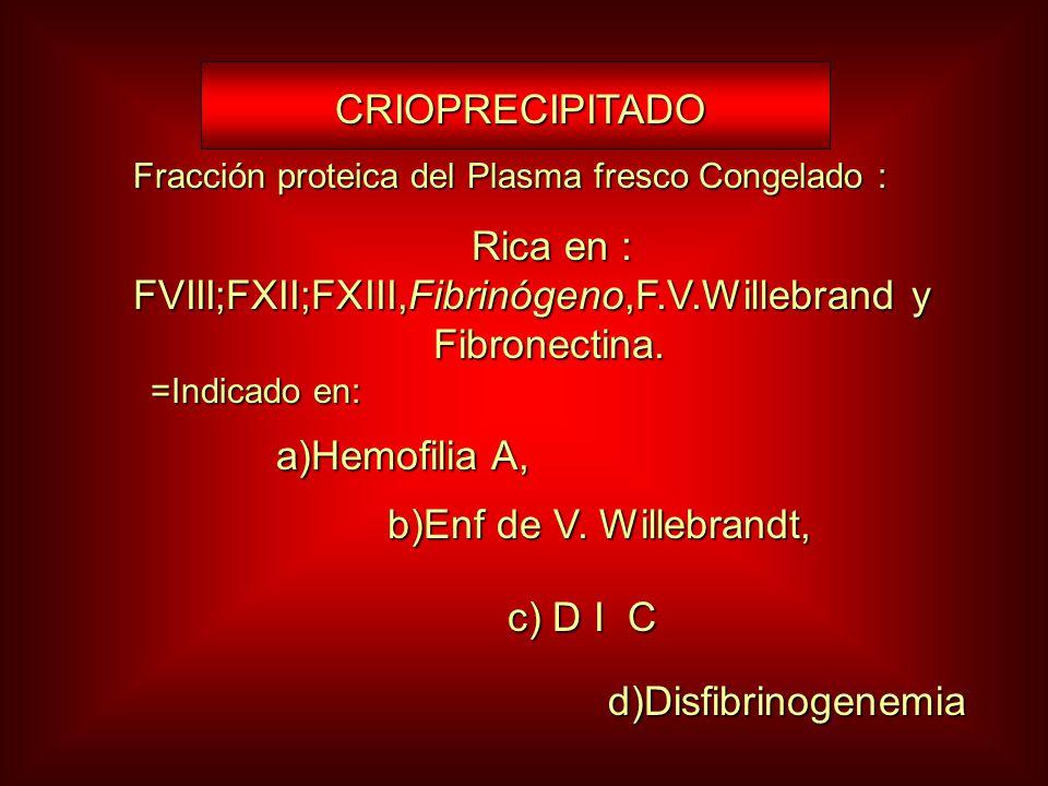 Rica en : FVIII;FXII;FXIII,Fibrinógeno,F.V.Willebrand y Fibronectina.