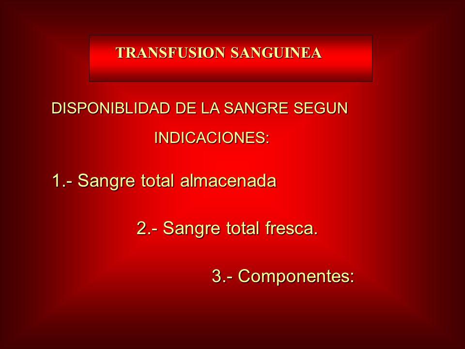 1.- Sangre total almacenada 2.- Sangre total fresca. 3.- Componentes: