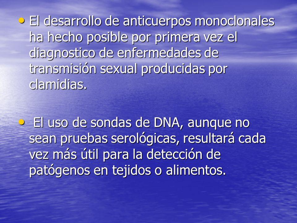 El desarrollo de anticuerpos monoclonales ha hecho posible por primera vez el diagnostico de enfermedades de transmisión sexual producidas por clamidias.