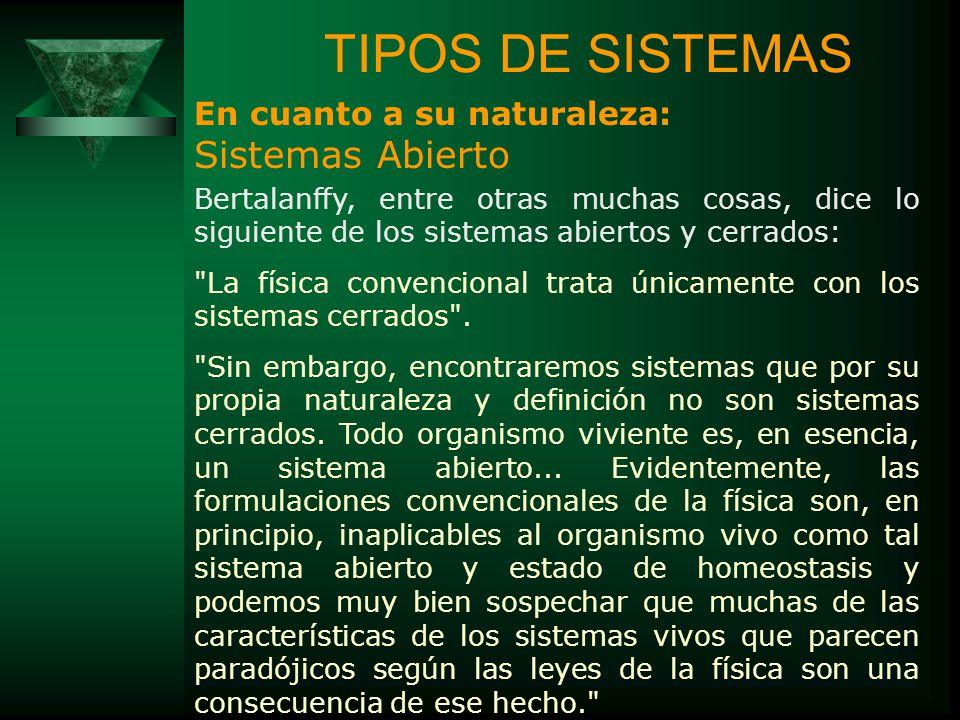 TIPOS DE SISTEMAS Sistemas Abierto En cuanto a su naturaleza: