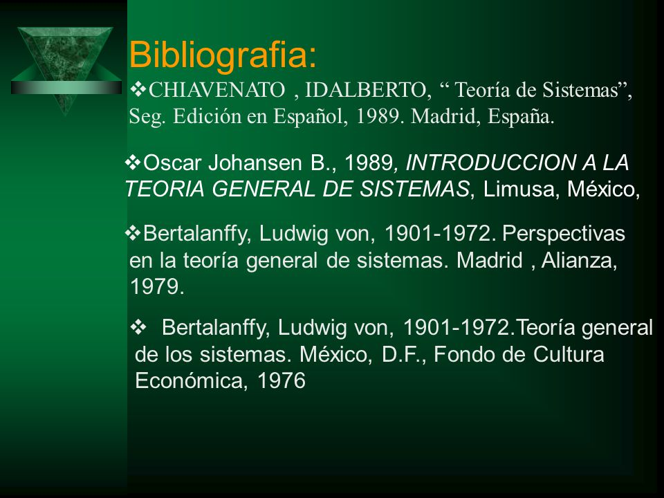 Bibliografia: CHIAVENATO , IDALBERTO, Teoría de Sistemas , Seg. Edición en Español, 1989. Madrid, España.