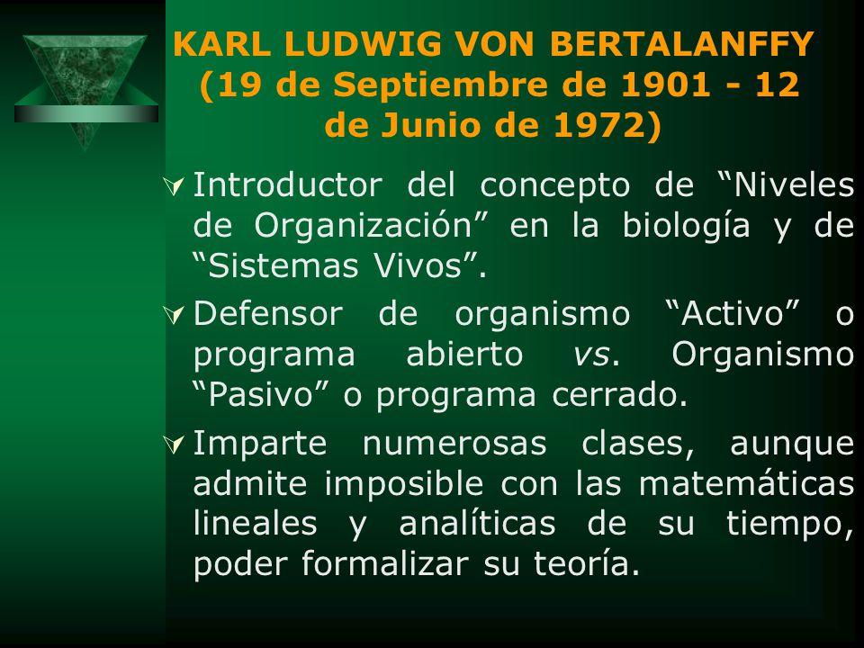 KARL LUDWIG VON BERTALANFFY (19 de Septiembre de 1901 - 12 de Junio de 1972)