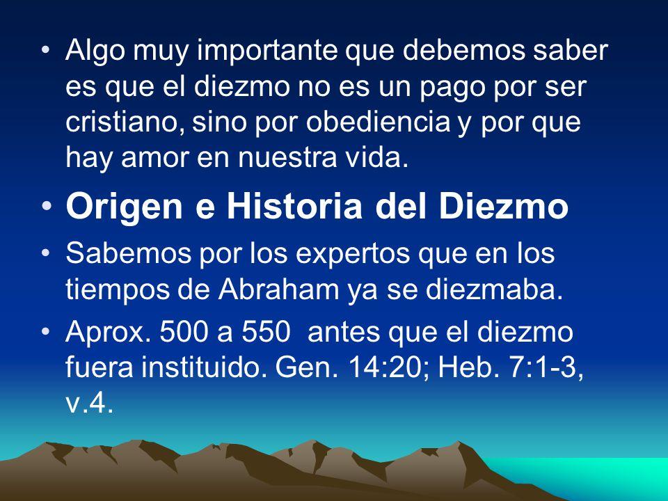 Origen e Historia del Diezmo