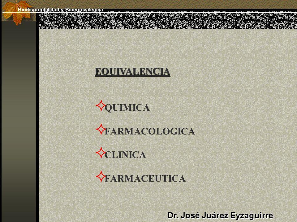 EQUIVALENCIA QUIMICA FARMACOLOGICA CLINICA FARMACEUTICA