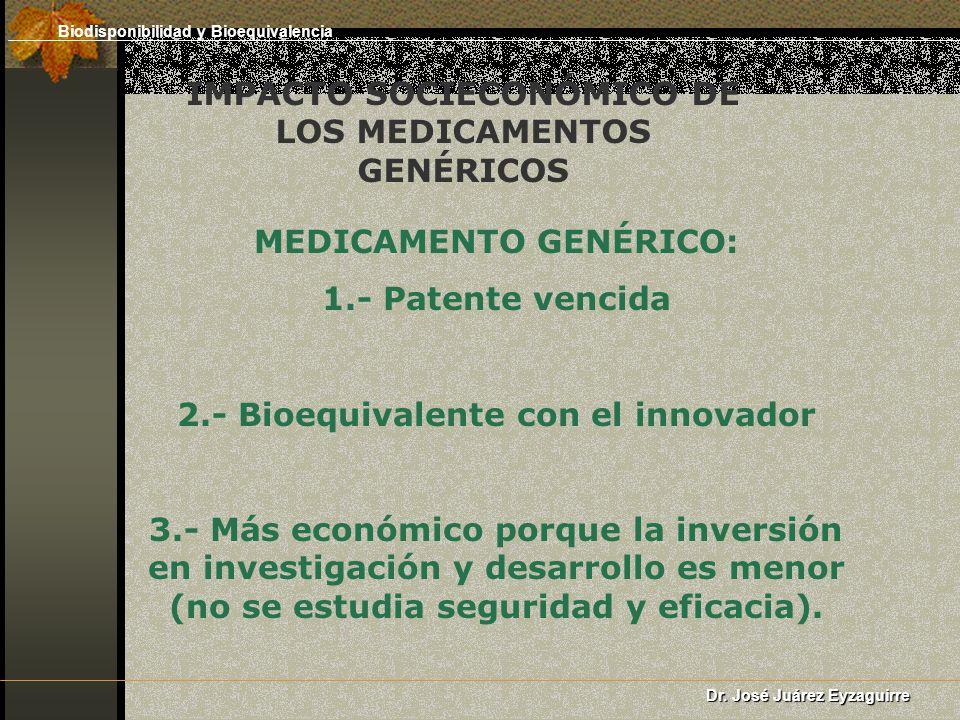 IMPACTO SOCIECONÓMICO DE LOS MEDICAMENTOS GENÉRICOS