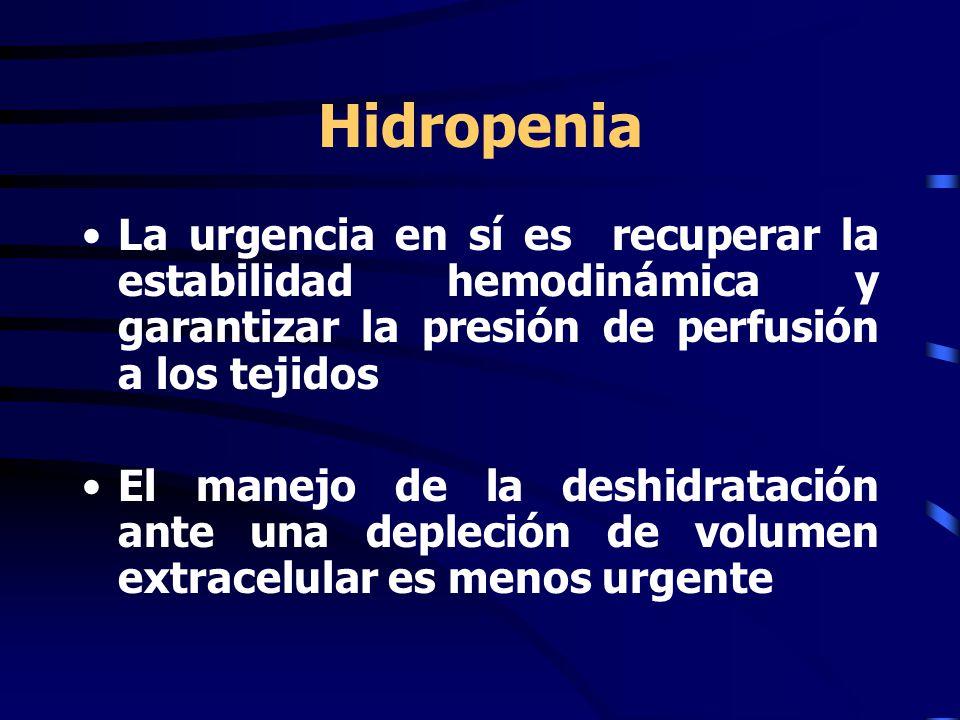 Hidropenia La urgencia en sí es recuperar la estabilidad hemodinámica y garantizar la presión de perfusión a los tejidos.