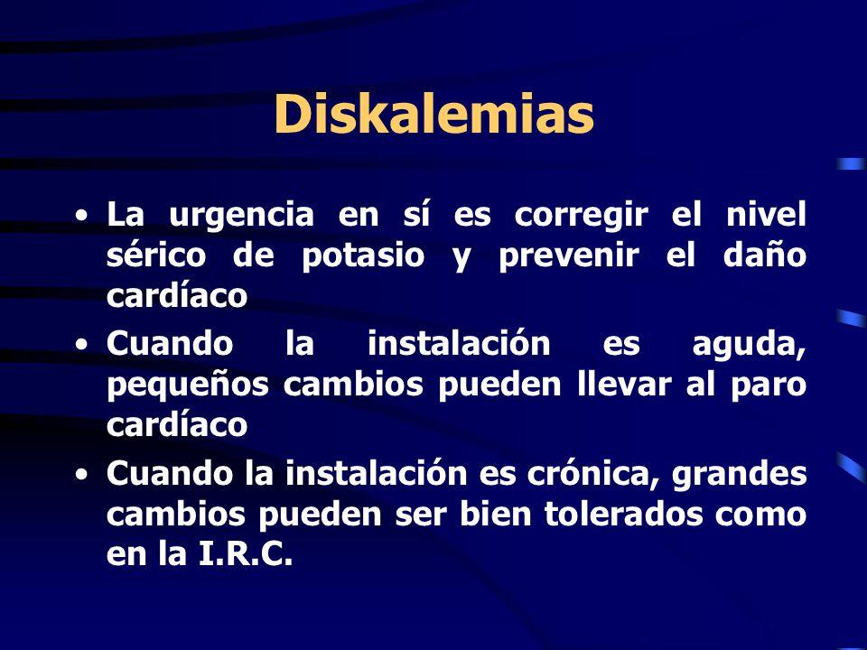 Diskalemias La urgencia en sí es corregir el nivel sérico de potasio y prevenir el daño cardíaco.