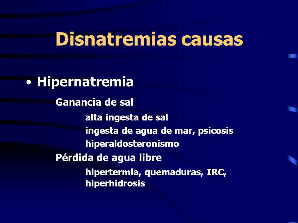 Disnatremias causas Hipernatremia Ganancia de sal alta ingesta de sal