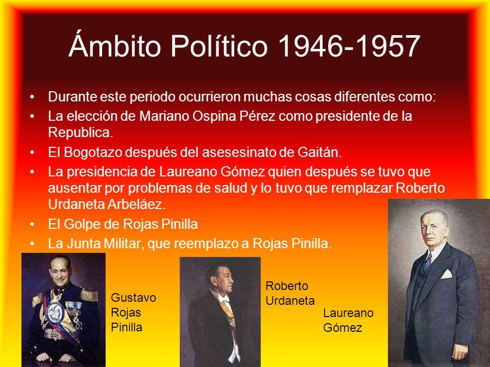 Ámbito Político 1946-1957 Durante este periodo ocurrieron muchas cosas diferentes como: