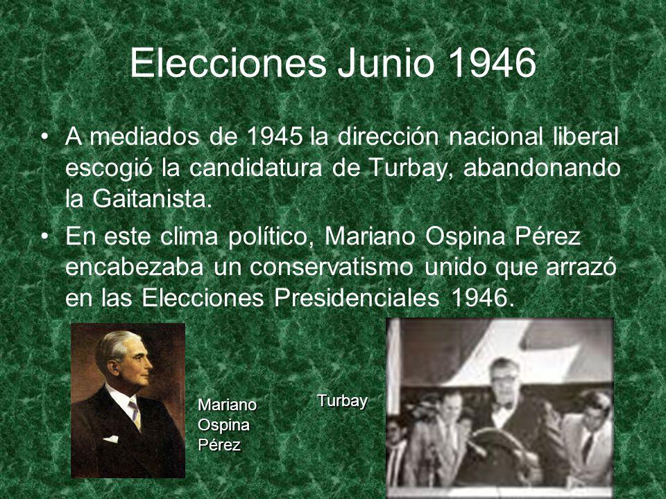 Elecciones Junio 1946 A mediados de 1945 la dirección nacional liberal escogió la candidatura de Turbay, abandonando la Gaitanista.