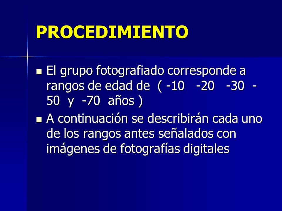 PROCEDIMIENTO El grupo fotografiado corresponde a rangos de edad de ( -10 -20 -30 -50 y -70 años )