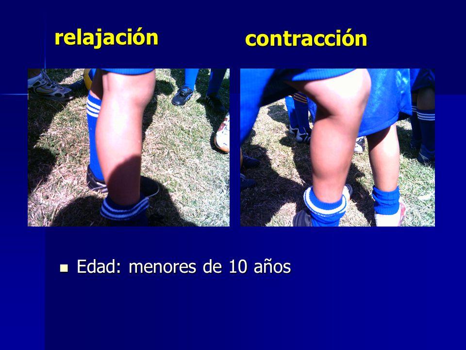 contracción relajación Edad: menores de 10 años