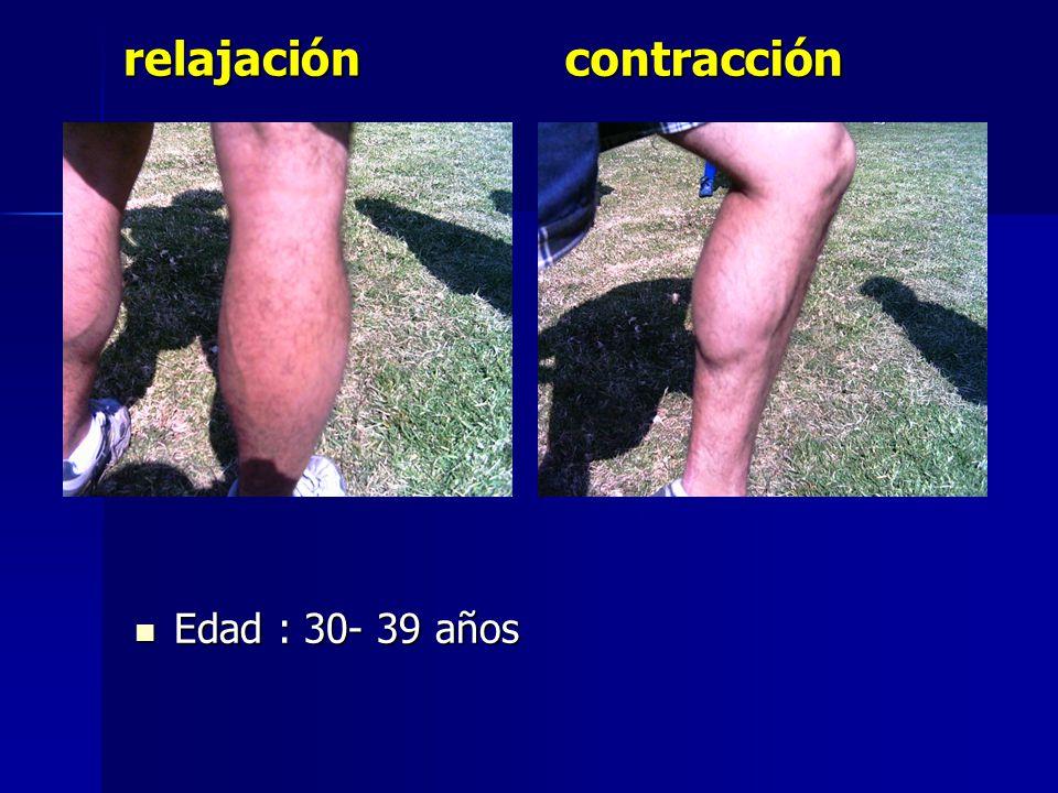 relajación contracción Edad : 30- 39 años
