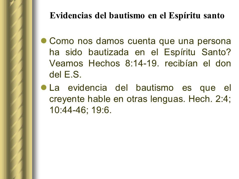 Evidencias del bautismo en el Espíritu santo