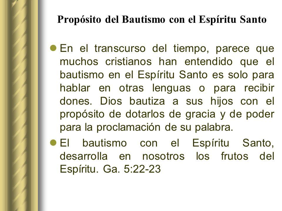 Propósito del Bautismo con el Espíritu Santo