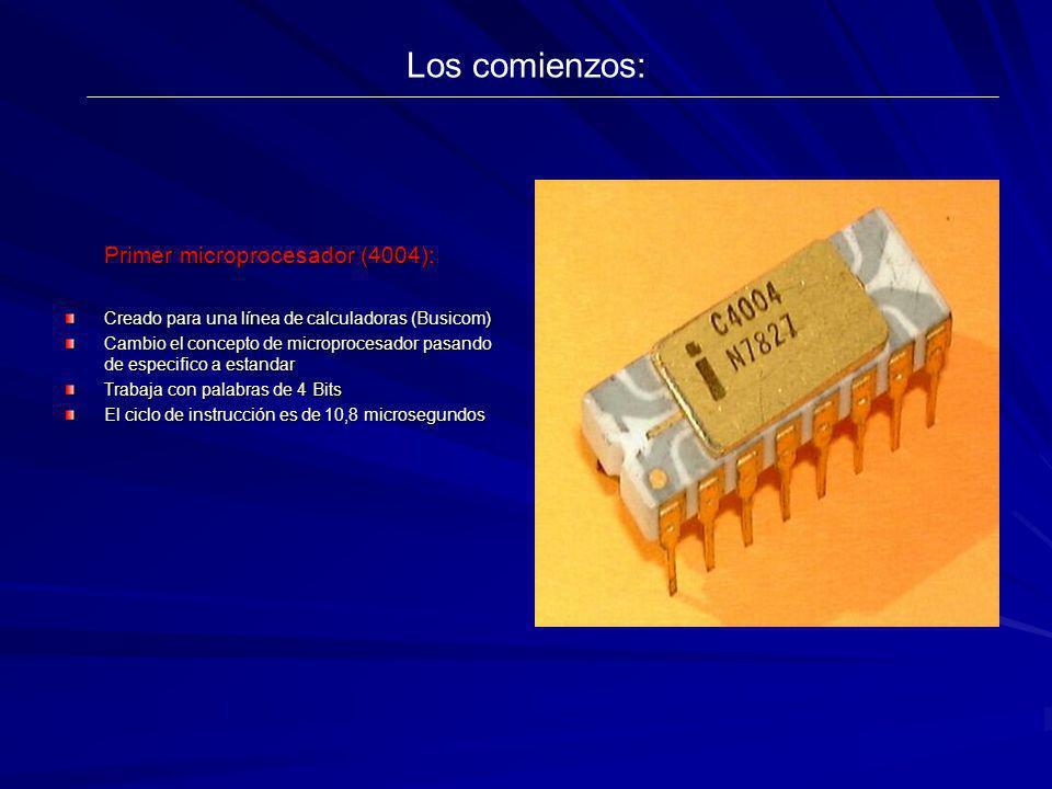 Los comienzos: Primer microprocesador (4004):