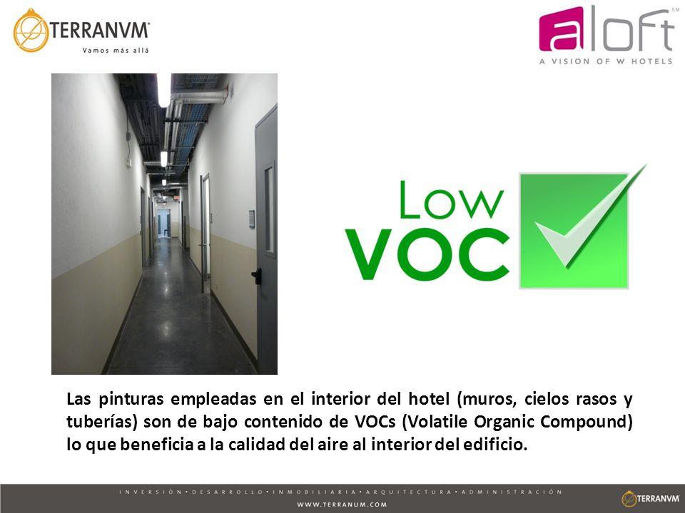 Las pinturas empleadas en el interior del hotel (muros, cielos rasos y tuberías) son de bajo contenido de VOCs (Volatile Organic Compound) lo que beneficia a la calidad del aire al interior del edificio.