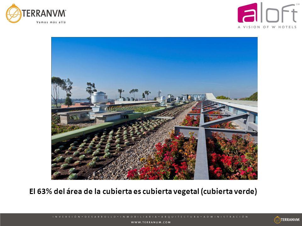 El 63% del área de la cubierta es cubierta vegetal (cubierta verde)