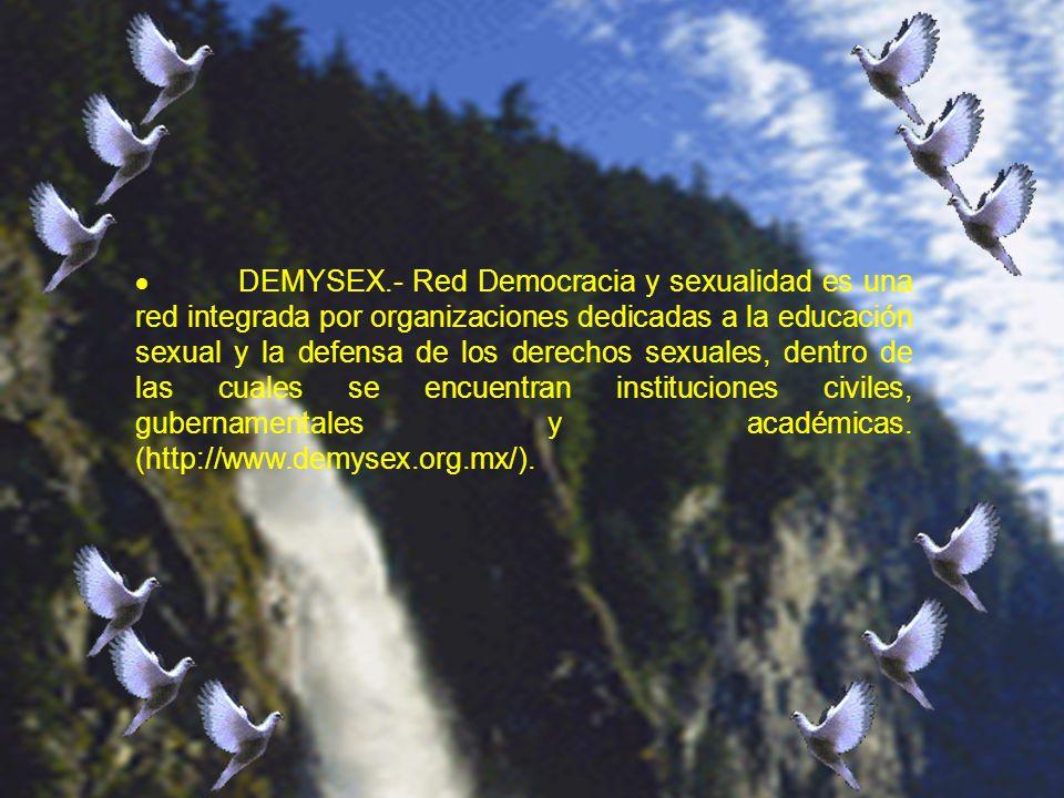 · DEMYSEX.- Red Democracia y sexualidad es una red integrada por organizaciones dedicadas a la educación sexual y la defensa de los derechos sexuales, dentro de las cuales se encuentran instituciones civiles, gubernamentales y académicas.