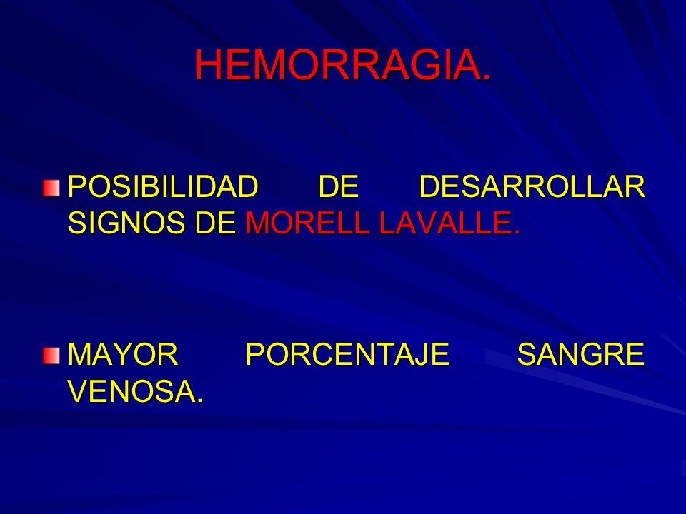 HEMORRAGIA. POSIBILIDAD DE DESARROLLAR SIGNOS DE MORELL LAVALLE.