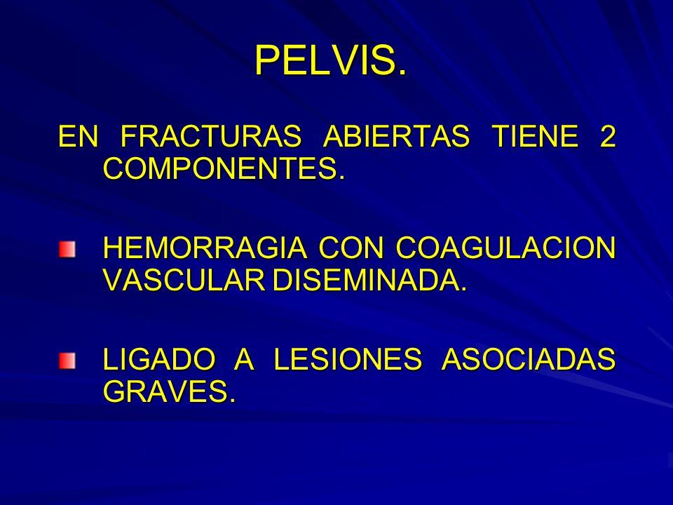 PELVIS. EN FRACTURAS ABIERTAS TIENE 2 COMPONENTES.