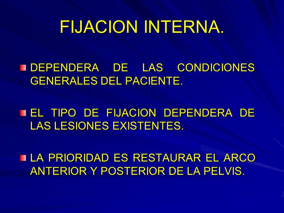 FIJACION INTERNA. DEPENDERA DE LAS CONDICIONES GENERALES DEL PACIENTE.