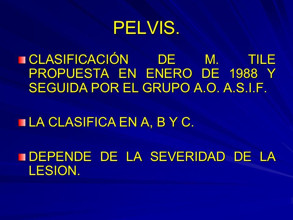 PELVIS. CLASIFICACIÓN DE M. TILE PROPUESTA EN ENERO DE 1988 Y SEGUIDA POR EL GRUPO A.O. A.S.I.F. LA CLASIFICA EN A, B Y C.