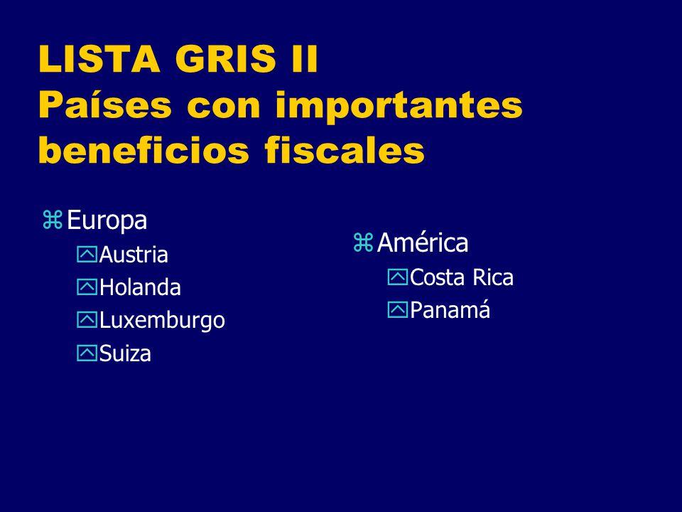 LISTA GRIS II Países con importantes beneficios fiscales