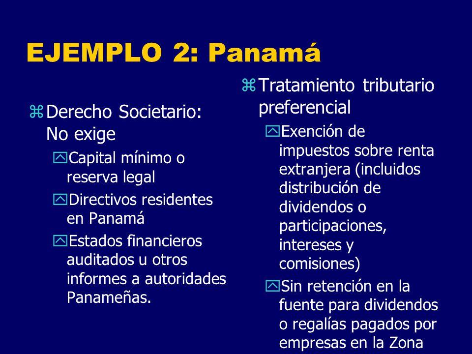 EJEMPLO 2: Panamá Tratamiento tributario preferencial