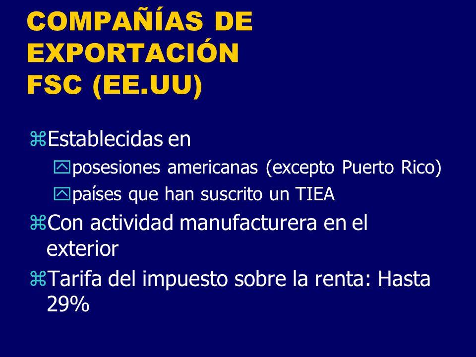 COMPAÑÍAS DE EXPORTACIÓN FSC (EE.UU)