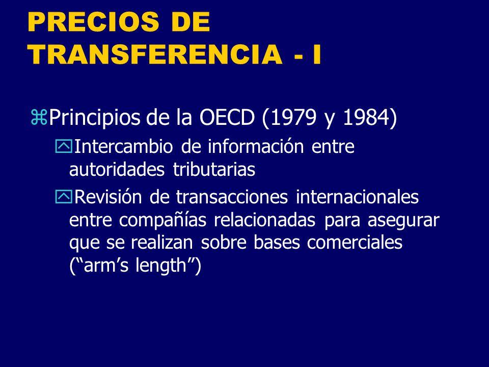 PRECIOS DE TRANSFERENCIA - I